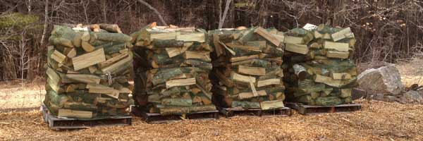 Pallets of firewood